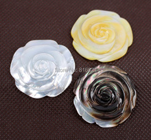 ( 3 Piece/lot) 35mm Mixed Natural Yellow/ White/ Grey MOP Shell Carved Rose Flower stone CABs Cabochons Undrilled Beads(China (Mainland))