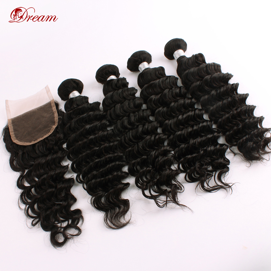 2015 New Arrival 6A Brazilian Deep Wave Virgin Hair Extension With Closure 3parts/free part Human Hair 4pcs/lot Free Shipping!<br><br>Aliexpress