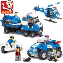 Sluban B0190 SWAT Jeep Motorcycle Helicopter Boat 3D Construction Plastic Model Building Blocks Bricks