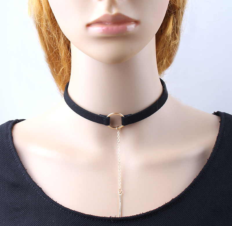 Fashion punk necklaces 2 Colors Leather Choker Necklace Gold Plated Geometry With Round Pendant Collar Necklace For Women Girls(China (Mainland))