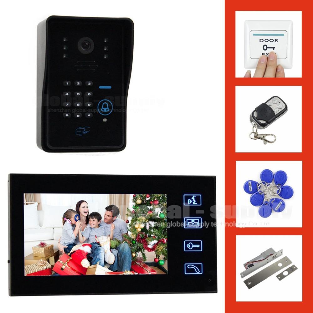 Electric Bolt Lock 7 Inch Video Door Phone Intercom System + Remote Control IR Keypad RFID Reader Weatherproof Cover Camera(China (Mainland))