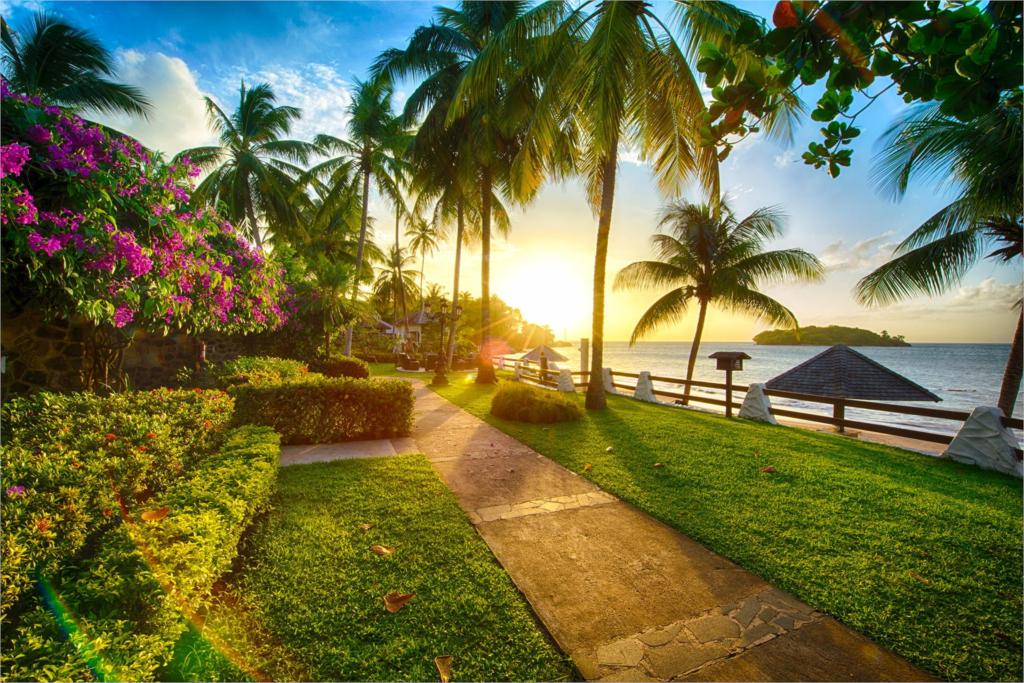 Living room home wall decoration fabric poster beaches sunset palm trees sea flowers coastal grass paths nature landscapes(China (Mainland))