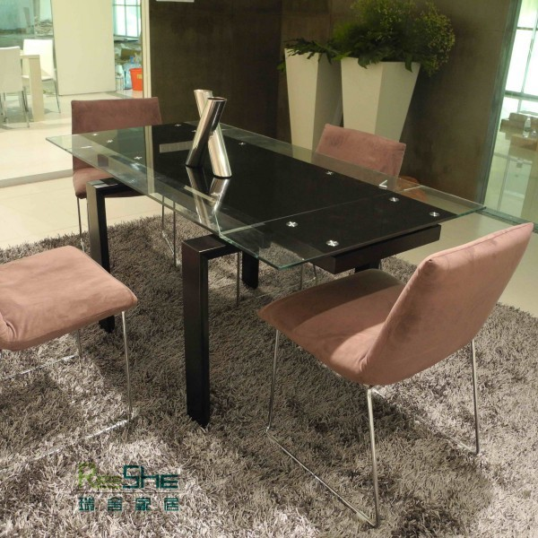 Four Seater Glass Dining Table Black Wood Legs Special New Modern Minimalist