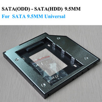 2nd hdd caddy SATA to SATA 9.5mm exchange DVD driver for  laptop add plastic Universal Aluminum Free Shipping