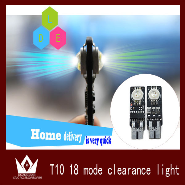 Night Lord HOT SALES! NEW ARRIVAL RGB 194 T10 w5w LED Seven Generations Ultimate 2 pcs w5w LED Width Lamp 18Kinds of Patterns(China (Mainland))