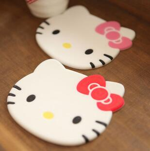 Cute Hello Kitty Anti Slip Cup Mat Dish Bowl Placemat Coasters Base Kitchen Accessories Home Decoration(China (Mainland))