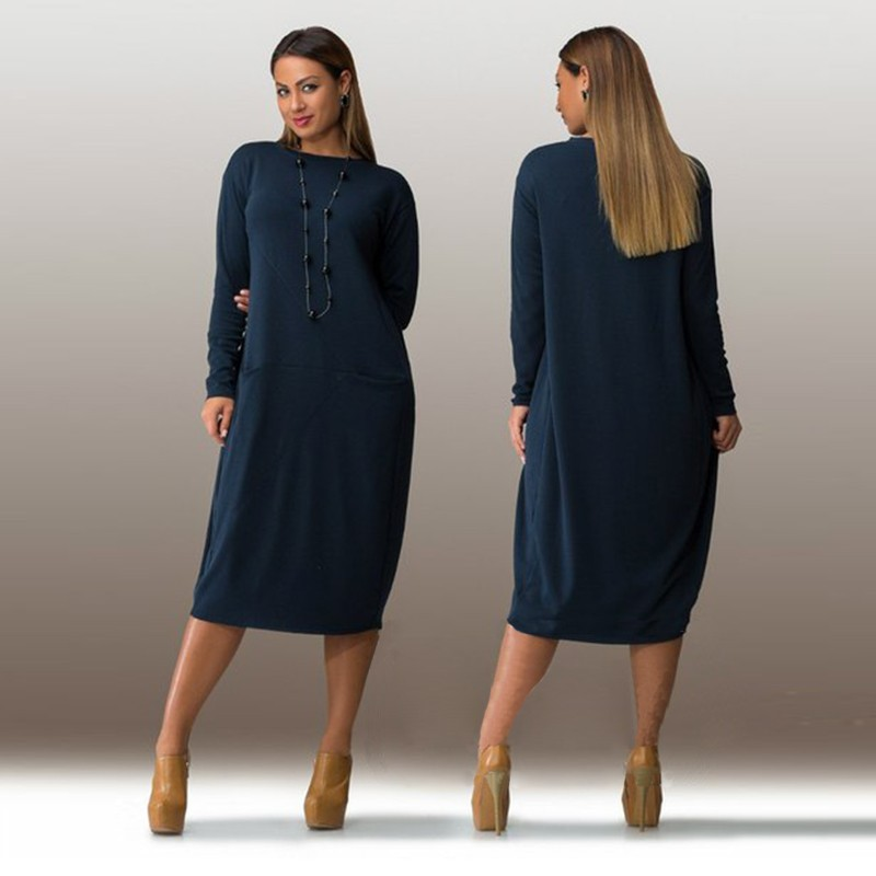 L-3XL 4XL 5XL 6XL 2016 Big Size Dress Autumn Winter Plus Size Women Clothing Long Sleeve Party Dresses Blue Casual Dress Vestido