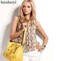 Free shipping lady's chiffon blouses for sleevess and button decoration Fashion Snakeskin grain women shirts