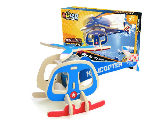 Educational toy P240 transport helicopter solar plane 3d jigsaw puzzle assembly model wooden creative game children gift 1 pc(China (Mainland))