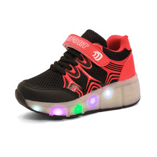 2016 Child Jazzy Heelys, Junior Girls/Boys LED Light Heely shoes, Children Roller Skate kids Sneakers With Single Wheels 27-40(China (Mainland))
