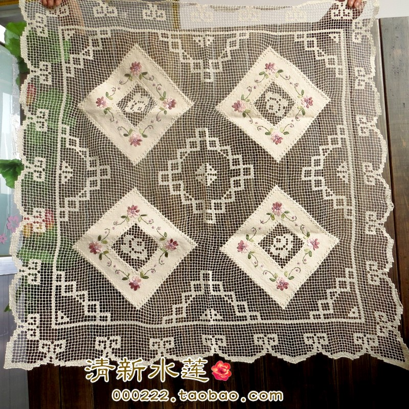 Fresh water handmade tuscany lace ribbon embroidered table cloth american fluid gremial cutout decoration square(China (Mainland))
