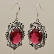 La literatura popular y arte para restaurar maneras antiguas pequeño puro 925 plata de ley pendientes y collares creado rubí joya(China (Mainland))