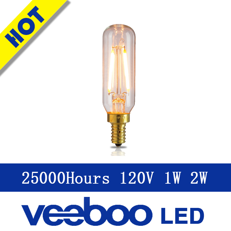 free shipping AC 120v T6 E12 base 1W 2W filament bulb retro amber Tube bubble ul certificate light energy saving lamp(China (Mainland))