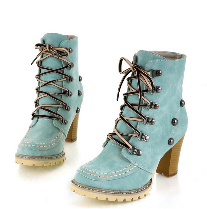 Nice Fashion Womens High Heel Combat Gothic Punk Ankle Shoes Lace Up  High Short Boots 35-43 Plus Size 76