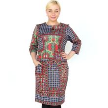 BFDADI Новые женские весна платья 2016 с 3/4 рукавом старинное картины женское платье осень женские свободного покроя офис платья Большой размер 3821 - 0(China (Mainland))