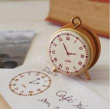 Vintage Style Clock Shape Mini Wooden DIY Stamp Set Student Prize Promotional Gift Stationery(China (Mainland))