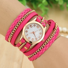 2015 FAshion Vintage Women Dress Watch Ladies Girls Women Leather Bracelet Wristwatch Weave Wrap Rivet Watch