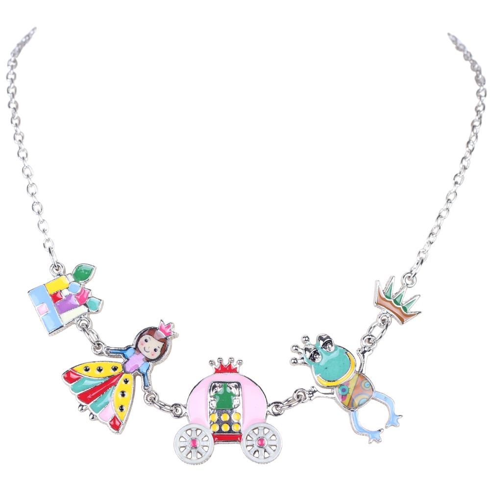 Bonsny Statement Enamel Necklace Angel Frog House Crown AlloyLong Collar Chain Pendant 2016 New Jewelry Women Accessories