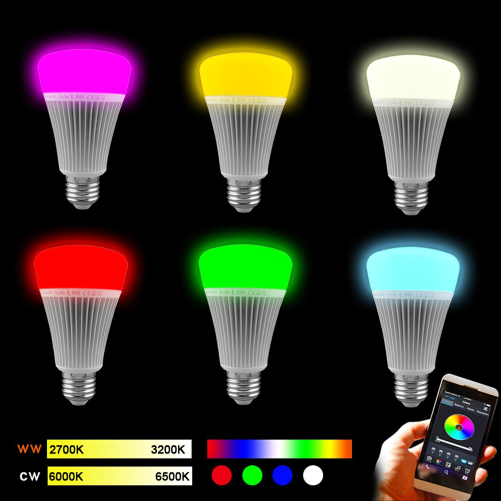AC85-265V LED lamps E27/E26 Buletooth 4.0 Smart LED Light Bulb 8W RGB warm white Dimmable Lamp musce APP Control apple/android(China (Mainland))