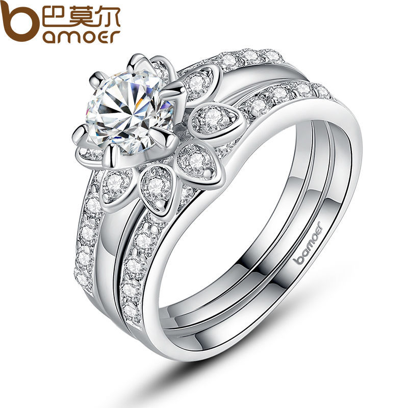 Bamoer Platinum Plated Couple Flower Ring Bridal Set for Women with AAA Cubic Zircon Surround Jewelry YIR037(China (Mainland))