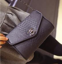 2015 corea del Vintage de cuero de cocodrilo cadena del hombro Messenger Bag Mini Flap Bag bolsas bolso monedero de la señora embragues del bolso del partido #BA370(China (Mainland))