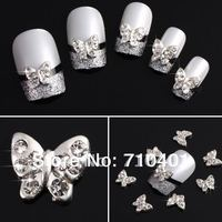 Hot Sale FREESHIPPING Wholesale Xmas Silver Butterfly 50pcs 3D Alloy Rhinestone Nail Art Slice DIY Decoration Gift Manicure Tool