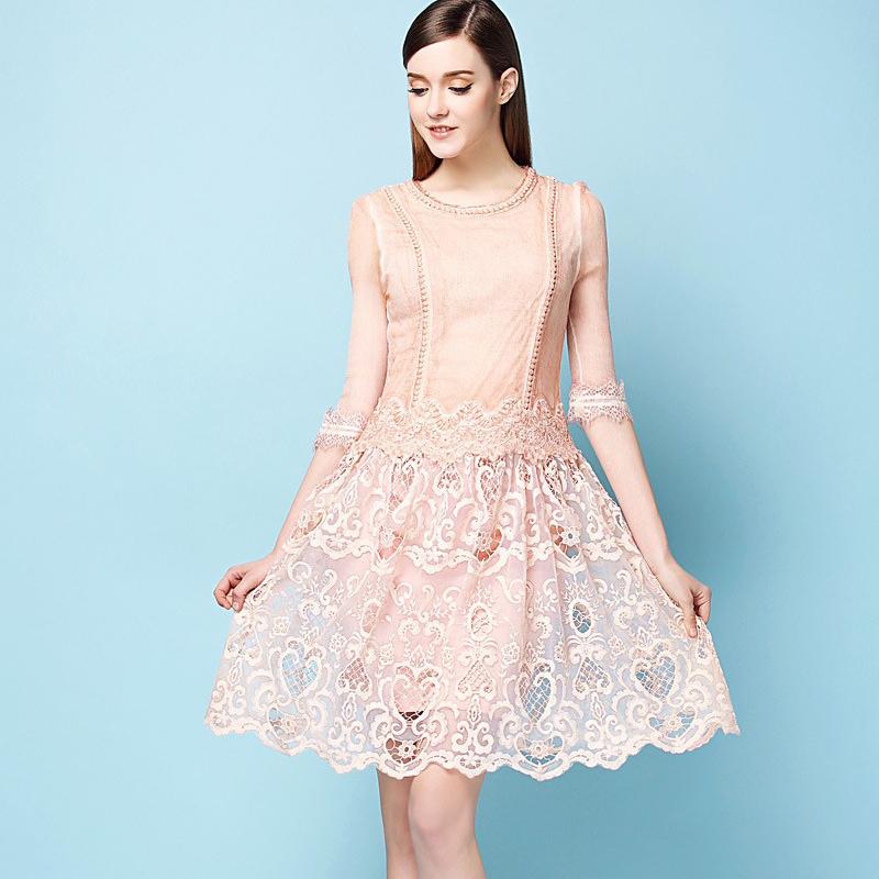 Free Shipping 2015 Spring-Summer Famous Brand Half Sleeve Knee Length Women Elegant Lace Silk Hydrotropic Dress