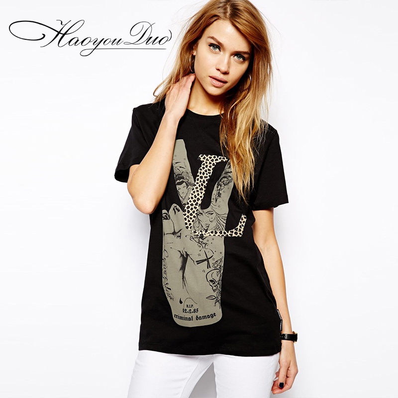 2016 New Black V Word Victory Gesture Donkey Card Printing BF Wind Retro Female Sexy T-shirt Tee for Girl Female Free Shipping(China (Mainland))
