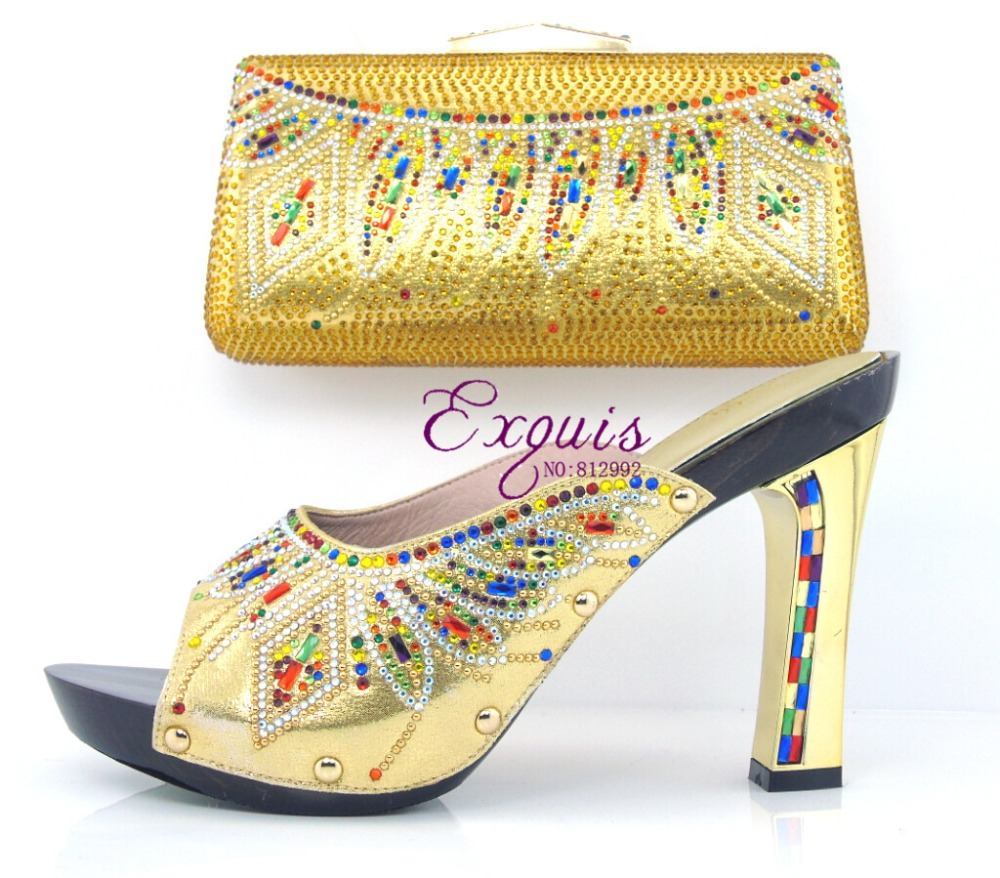 African Beautiful ladies shoes and matching handbags Italian shoes and  bags gold color   CT16-100 <br><br>Aliexpress
