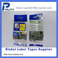 Cheap 24mm black on yellow laminated TZ label tape TZ-651