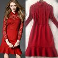 2016 WOMEN SPRING DRESS LACE PARTCHWORK RUFFLES MERMAID DRESSES LADIES SPRING CLOTHES T4697