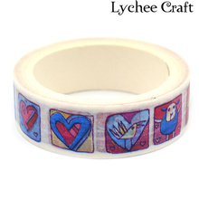 Lychee Craft Paper Tape Love Heart Washi Tape DIY Scrapbooking Decor Art Wall Paper Sticker Gift Packing Decorative