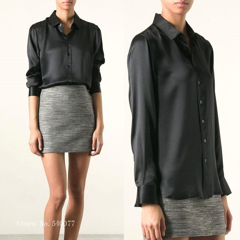 S-XXXL women Fashion silk satin blouse button ladies silk blouses shirt casual office Black long sleeve satin blouse top(China (Mainland))
