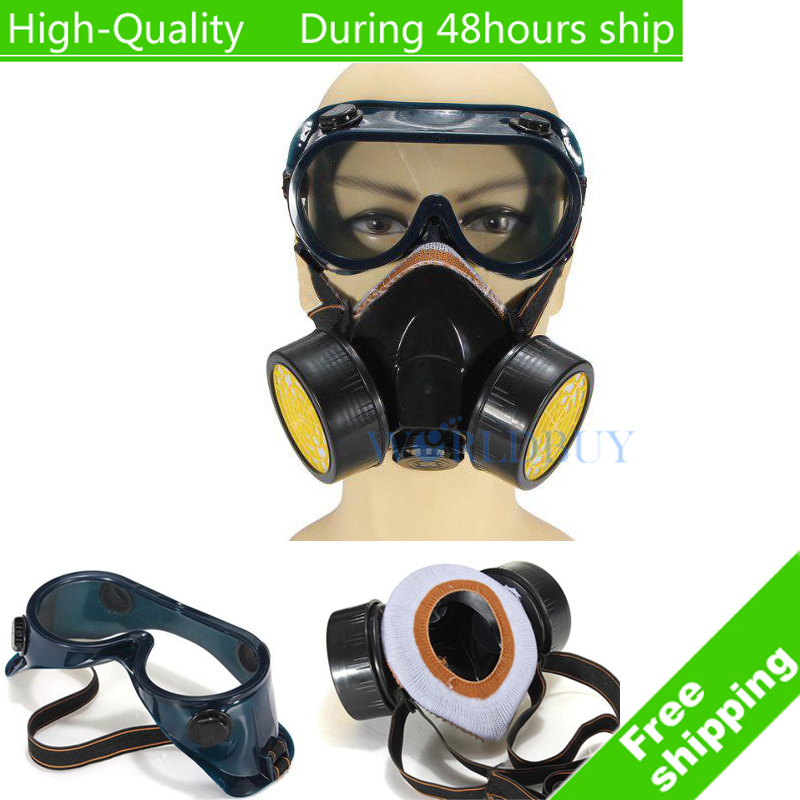 Гаджет  High Quality Industrial Ga Anti Dust Paint Respirator Mask Chemical + Eye Goggles Free Shipping None Безопасность и защита