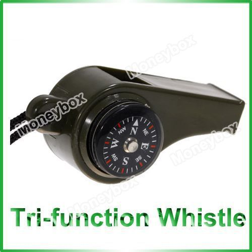 Camping 3-in-1 Multi-function Thermometer and Compass Whistle