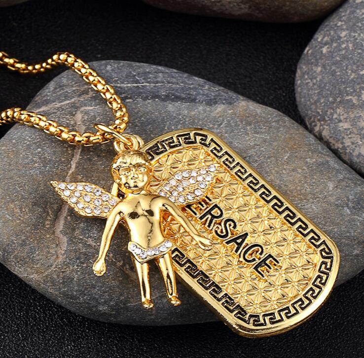 Hot sale new Fashion 18 k electric gold-plated necklace set auger boy angel tags / Micro Angel Piece Necklace(China (Mainland))
