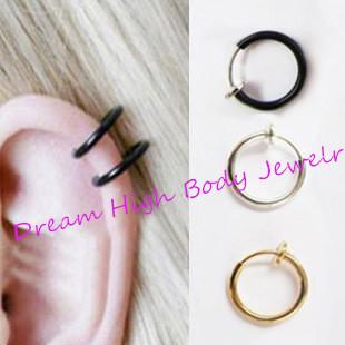 Fake Nose Ring Piercing Clip Lip Hoop Rings Earrings Silver Steel Black Ear Stud Body Jewelry Punk Round Hole - Dream High store