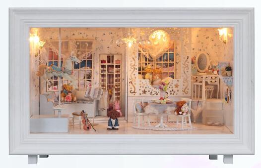 DIY Dollhouse 3D Miniature Wooden assembled LED light Handmade kits model doll house furnitures(China (Mainland))