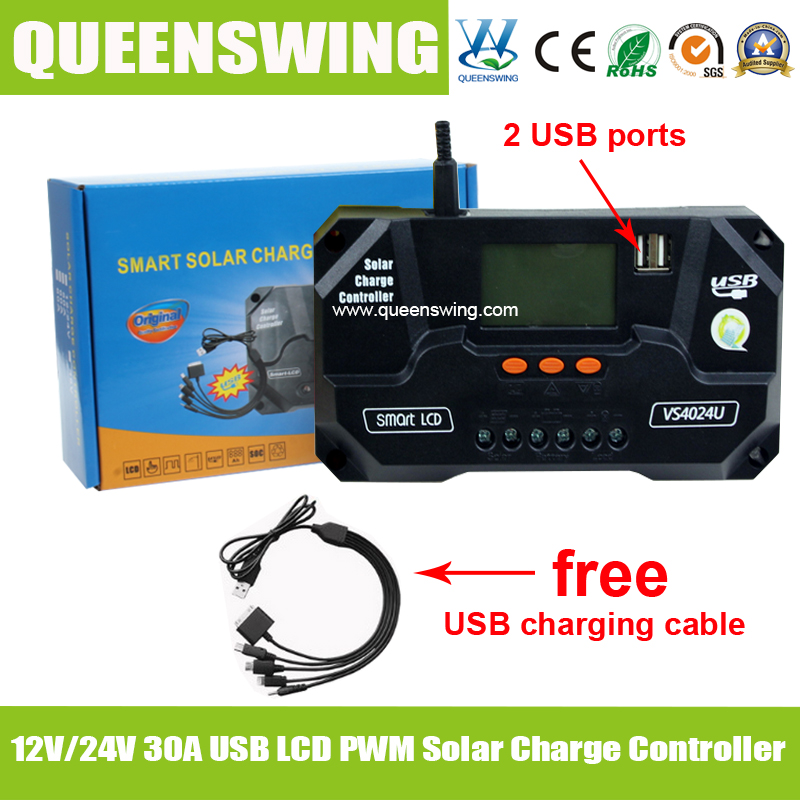 QUEENSWING 12v 24v 30a solar charge controller with lcd usb and free charging cable for solar