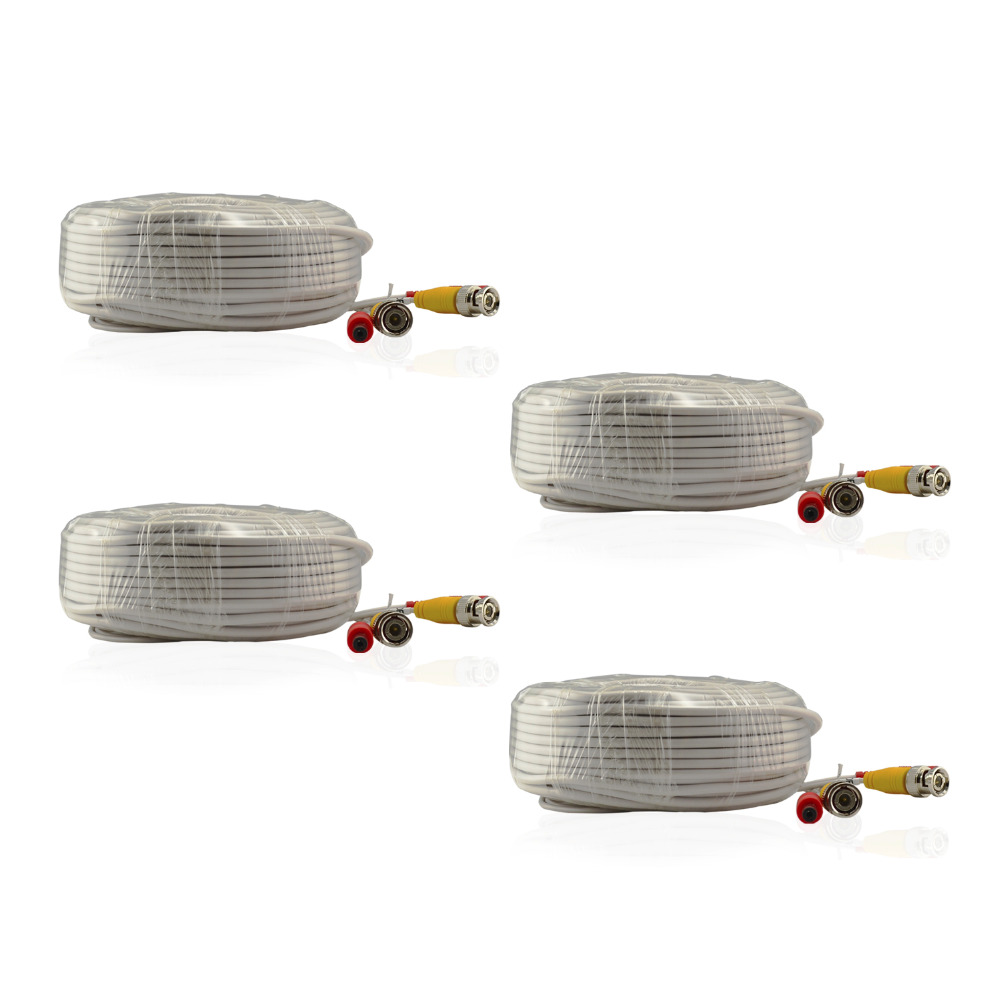 SANNCE 4 Pack 30M 100ft CCTV Cable BNC + DC Plug Video Power Cable for Wire AHD Camera and DVR Surveillance System Accessories(China (Mainland))