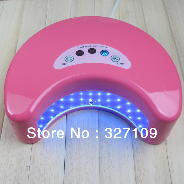 Pink 12W LED Gel Nail Art Lamp Portable Nail Dryer Curing Light Home / Salon 220v Two Hand One Time