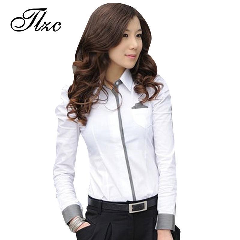 Tlzc Women Shirt New Fashion Office Lady White Shirt 2016