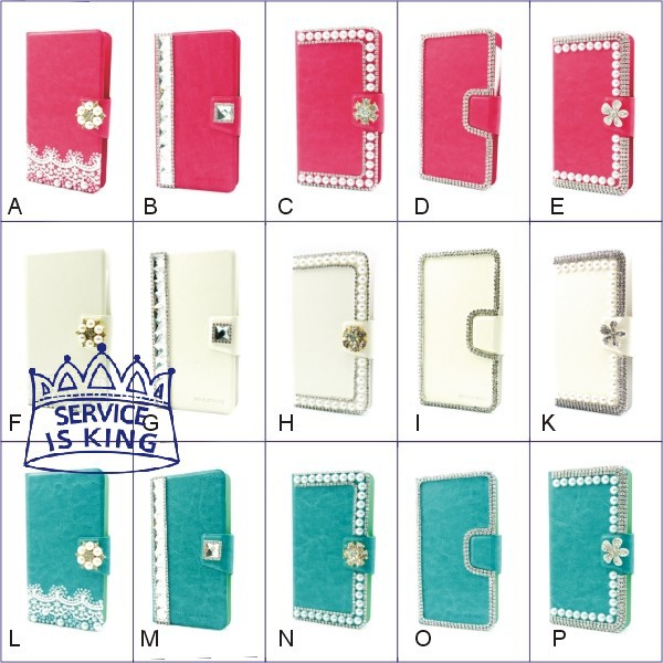 1pcs Crystal Flower Pearl & Diamond Leather Wallet Stand Flip Phone Universal Case for Motorola MOTO ATRIX TV XT682 #5588112(China (Mainland))