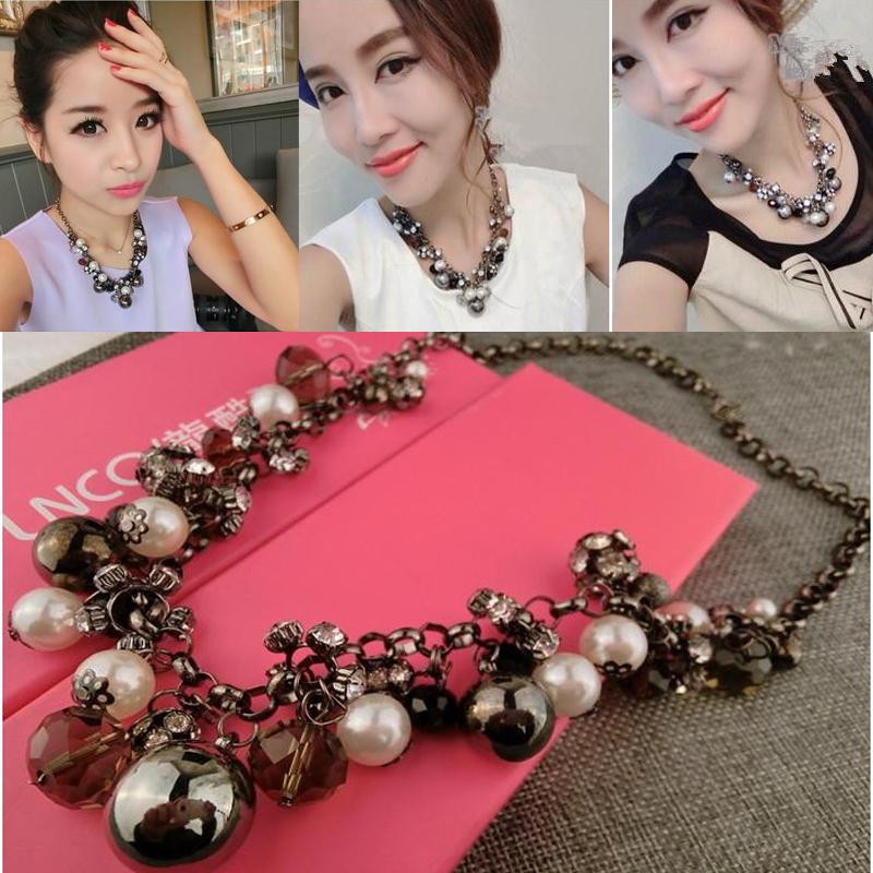 2015 Fashion Multi Gold Chains Cross Pearl Rhinestones Beads Choker Statement Necklaces Bijouterie For Women Dress Bijoux C304(China (Mainland))