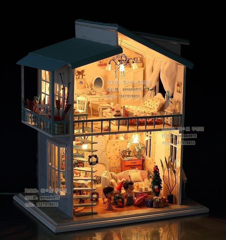 Diy led light quotcradle on the beachquot deluxe house dollhouse for Doll house lighting