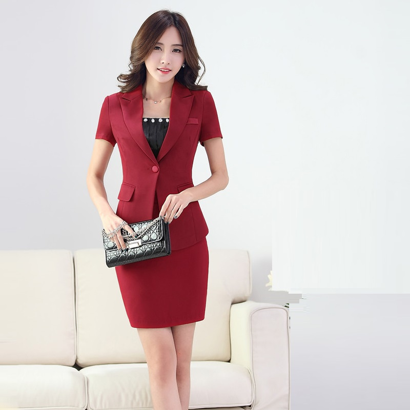 Elegant Spring Autumn Female Skirt Suits 2015 Elegant Women Business Suit Formal Office Suits Work ...