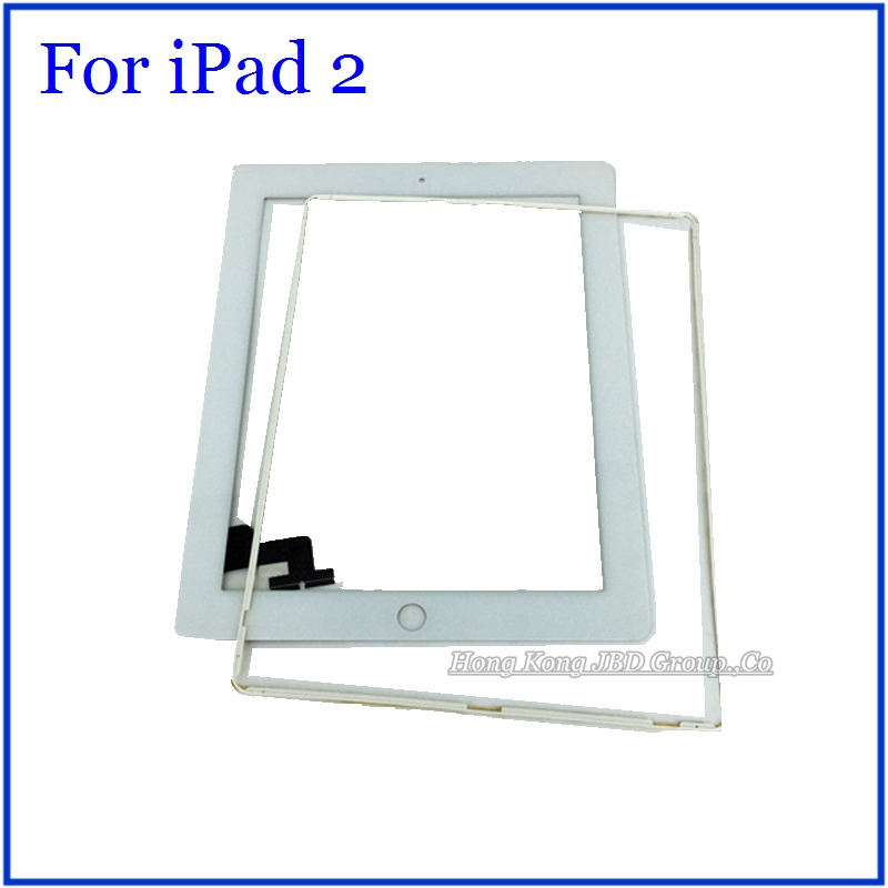 White For iPad 2 Touch Screen Digitizer Glass + Middle Buzzel Frame + Free Opening Tools + 3M Adhesive With Tracking Code<br><br>Aliexpress