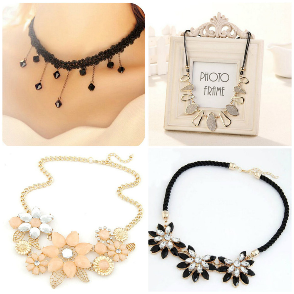 South Korea fashion sexy lace crochet small pure and fresh temperament water flowers crystal chain short chain necklace clavicle(China (Mainland))