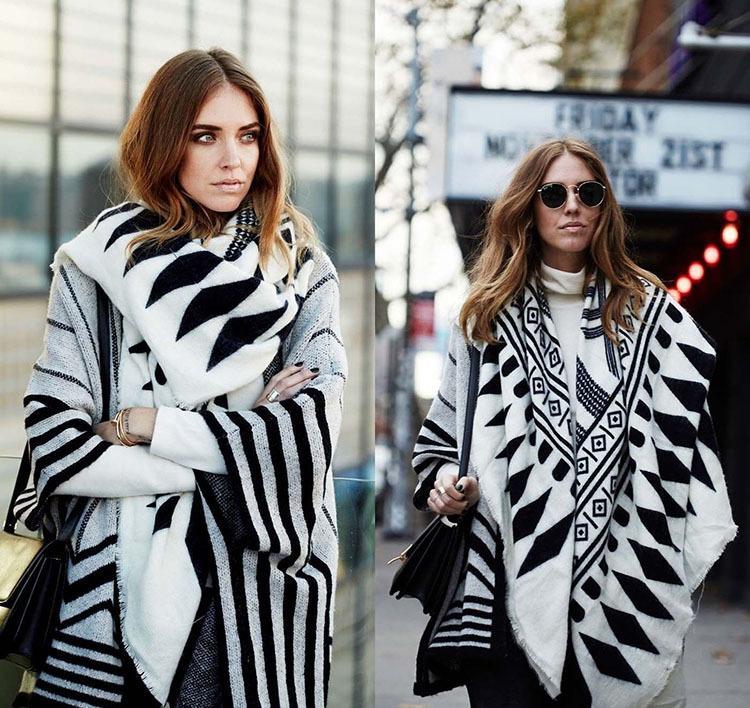 Autumn Winter New Black and White Pashmina Women Print Fashion Shawl Imitation Cashmere Big Warm Scraf(China (Mainland))