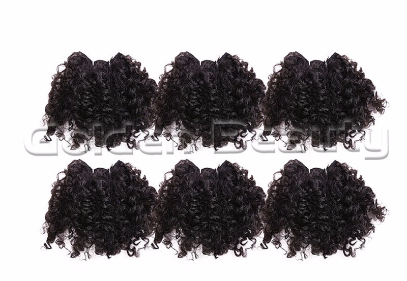Free shipping 5inch 6pcs/pack Noble Gold Bloom Curl Synthetic Hair weft extensions with black hair Weaving Weft  for black women